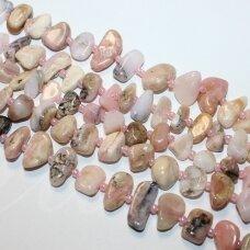 JSROZOP-NET2-5x10-10x15 apie 5 x 10 - 10 x 15 mm, netaisyklinga forma, rožinis opalas, apie 38 cm.
