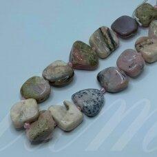 jsrozop-net8-12x15-14x17 apie 12 x 15 - 14 x 17 mm, netaisyklinga forma, rožinis opalas, apie 38 cm.