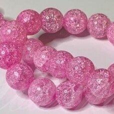 jssin01kakk-apv-12 apie 12 mm, apvali forma, skaidrus, daužtas, tamsi, rožinė spalva, sintetinis, kalnų krištolas, apie 32 vnt.