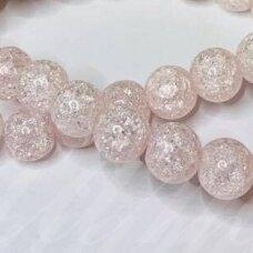jssin02kakk-apv-06 apie 6 mm, apvali forma, skaidrus, daužtas, šviesi, rožinė spalva, sintetinis, kalnų krištolas, apie 62 vnt.
