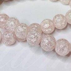 jssin02kakk-apv-08 apie 8 mm, apvali forma, skaidrus, daužtas, šviesi, rožinė spalva, sintetinis, kalnų krištolas, apie 48 vnt.