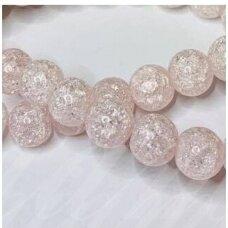 jssin02kakk-apv-10 apie 10 mm, apvali forma, skaidrus, daužtas, šviesi, rožinė spalva, sintetinis, kalnų krištolas, apie 38 vnt.