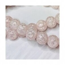 jssin02kakk-apv-12 apie 12 mm, apvali forma, skaidrus, daužtas, šviesi, rožinė spalva, sintetinis, kalnų krištolas, apie 32 vnt.