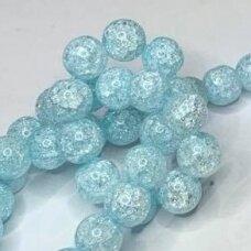 jssin03kakk-apv-08 apie 8 mm, apvali forma, skaidrus, daužtas, melsva spalva, sintetinis, kalnų krištolas, apie 48 vnt.