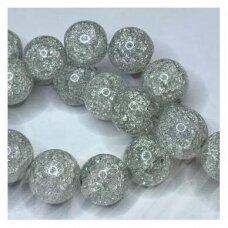jssin08kakk-apv-12 apie 12 mm, apvali forma, skaidrus, daužtas, pilka spalva, sintetinis, kalnų krištolas, apie 32 vnt.