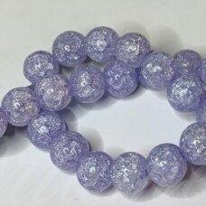 jssin10kakk-apv-08 apie 8 mm, apvali forma, skaidrus, daužtas, violetinė spalva, sintetinis, kalnų krištolas, apie 48 vnt.
