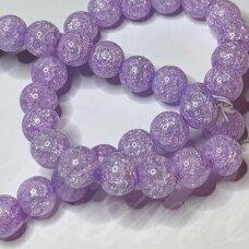 jssin11kakk-apv-08 apie 8 mm, apvali forma, skaidrus, daužtas, violetinė spalva, sintetinis, kalnų krištolas, apie 48 vnt.