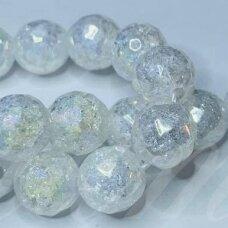 jssin13kakk-apv-br-10 apie 10 mm, apvali forma, briaunuotas, skaidrus, daužtas, AB, sintetinis, kalnų krištolas, apie 38 vnt.