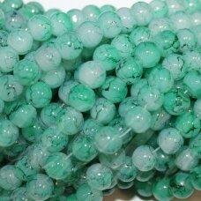jsstik0121-apv-08 apie 8 mm, apvali forma, marga, žalia spalva, apie 100 vnt.
