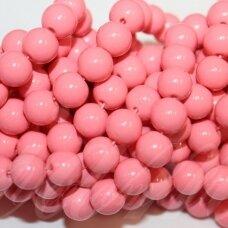 jsstik0152-apv-10 stikliniai karoliukai, apie 10 mm, apvali forma, rožinė spalva, stikliniai karoliukai, apie 80 vnt.