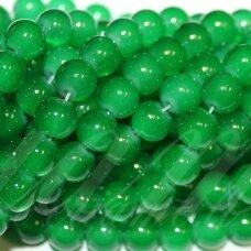 jsstik0154-apv-10 stikliniai karoliukai, apie 10 mm, apvali forma, žalia spalva, stikliniai karoliukai, apie 80 vnt.