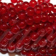 jsstik0155-apv-10 stikliniai karoliukai, apie 10 mm, apvali forma, raudona spalva, stikliniai karoliukai, apie 80 vnt.