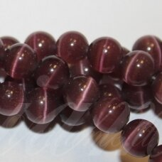 jsstkat0010-apv-06 about 6 mm, round shape, dark, lilac color, glass bead, cat's eye, about 65 pcs.