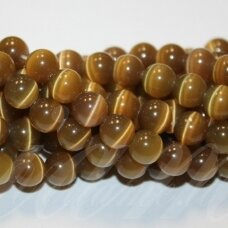 jsstkat0013-apv-10 about 10 mm, round shape, haki color, glass bead, cat's eye, about 38 pcs.