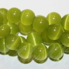 jsstkat0014-apv-10 about 10 mm, round shape, light green color, glass bead, cat's eye, about 40 pcs.