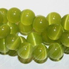 jsstkat0014-apv-10 (22g) apie 10 mm, apvali forma, salotinė spalva, stiklinis karoliukas, katės akis, apie 40 vnt.