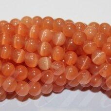 JSSTKAT0018-APV-08 apie 8 mm, apvali forma, šviesi, oranžinė spalva, stiklinis karoliukas, katės akis, apie 50 vnt.
