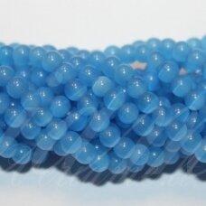 JSSTKAT0026-APV-10 apie 10 mm, apvali forma, mėlyna spalva, stikliniai karoliukai, katės akis, apie 40 vnt.