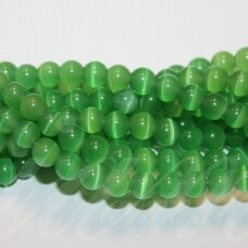 JSSTKAT0053-APV-06 apie 6 mm, apvali forma, žalia spalva, stikliniai karoliukai, katės akis, apie 65 vnt.