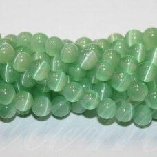 jsstkat0054-apv-04 apie 4 mm, apvali forma, šviesi, žalia spalva, stiklinis karoliukas, katės akis, apie 100 vnt.