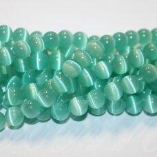 jsstkat0055-apv-04 (25G) apie 4 mm, apvali forma, melsvai žalia spalva, stiklinis karoliukas, katės akis, apie 100 vnt.