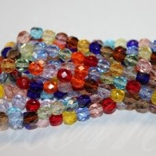 jsstkb0004-06 about 6 mm, round shape, faceted, transparent, mix colors, glass bead, about 97 pcs.