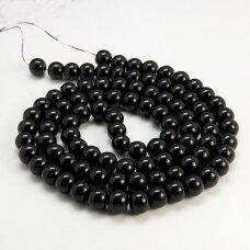 jsstperl0006-06 apie 6 mm, apvali forma, juoda spalva, stiklinis perliukas, apie 130 vnt.
