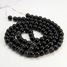 jsstperl0006-08 apie 8 mm, apvali forma, juoda spalva, stiklinis perliukas, apie 100 vnt.