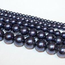 jsstperl0177-12 apie 12 mm, violetinė spalva, stiklinis perliukas, apie 70 vnt.