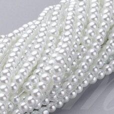 jsstperl0201-04 apie 4 mm, apvali forma, balta spalva, stiklinis perliukas, apie 210 vnt.