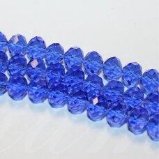 jssw0009k-ron-08x10 apie 8 x 10 mm, rondelės forma, briaunuotas, mėlyna spalva, apie 72 vnt.