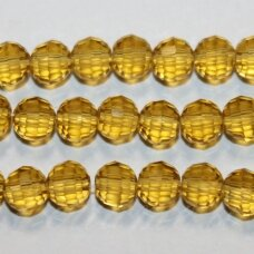 jssw0004gel-apv2-06 about 6 mm, round shape, faceted, transparent, amber color, about 100 pcs.
