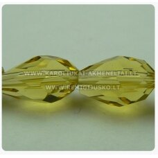 jssw0004gel-las-09x6 about 9 x 6 mm, yellow tint, transparent, drop shape, faceted, about 72 pcs.