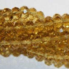 jssw0004gel-ron-02x3 apie 2 x 3 mm, rondelės forma, gelsvas atspalvis, stikliniai / kristalo karoliukai, apie 200 vnt.