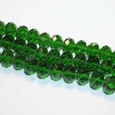 jssw0018k-ron-09x12 apie 9 x 12 mm, rondelės forma, briaunuotas, žalia spalva, apie 72 vnt.