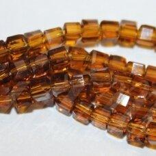 jssw0006gel-kub1-04x4 apie 4 x 4 mm, kubo forma, skaidrus, ruda spalva, apie 100 vnt.
