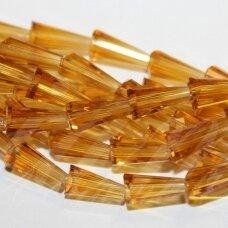 jssw0006gel-kug-08x4 apie 8 x 4 mm, kūgio forma, skaidrus, gintaro spalva, stikliniai / kristalo karoliukai, apie 72 vnt.