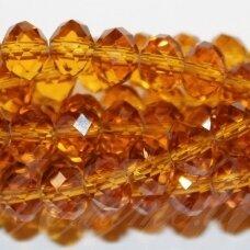 jssw0006gel-ron-04x6 apie 4 x 6 mm, rondelės forma, skaidrus, tamsi, geltona spalva, briaunuotas, apie 100 vnt.