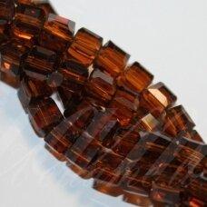 jssw0007gel-kub1-04x4 apie 4 x 4 mm, kubo forma, skaidrus, tamsi, ruda spalva, apie 100 vnt.