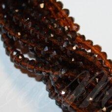 jssw0007gel-ron-06x8 apie 6 x 8 mm, rondelės forma, briaunuotas, skaidrus, tamsi, ruda spalva, apie 72 vnt.