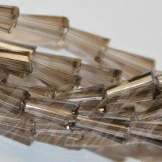 jssw0008gel-kug-08x4 apie 8 x 4 mm, kūgio forma, briaunuotas, skaidrus, ruda spalva, stikliniai / kristalo karoliukai, apie 72 vnt.