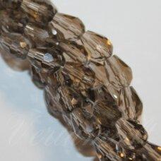 jssw0008gel-las-04.5x3.5 apie 4.5 x 3.5 mm, lašo forma, briaunuotas, skaidrus, ruda spalva, stikliniai / kristalo karoliukai, apie 100 vnt.