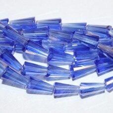 jssw0017gel-kug-08x4 apie 8 x 4 mm, kūgio forma, skaidrus, mėlyna spalva, stikliniai / kristalo karoliukai, apie 72 vnt.