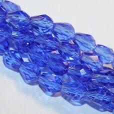 JSSW0017GEL-LAS-06x4 apie 6 x 4 mm, lašo forma, briaunuotas, skaidrus, mėlyna spalva, apie 100 vnt.
