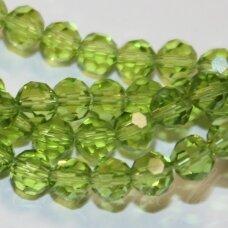 jssw0019k-apv-04 apie 4 mm, apvali forma, briaunuotas, skaidrus, šviesi, žalia spalva, apie 100 vnt.