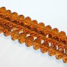jssw0006k-ron-09x12 apie 9 x 12 mm, rondelės forma, briaunuotas, šviesi, ruda spalva, apie 72 vnt.