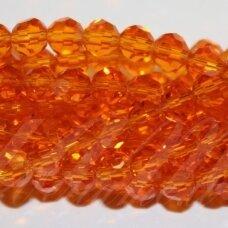 jssw0022k-apv-08 x 8 mm, apvali forma, briaunuotas, skaidrus, oranžinė spalva, apie 72 vnt.