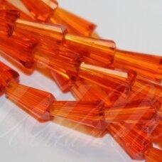 jssw0022k-kug-08x4 apie 8 x 4 mm, kūgio forma, briaunuotas, skaidrus, oranžinė spalva, 72 vnt.