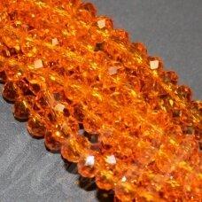 jssw0022k-ron-03x4 apie 3 x 4 mm, rondelės forma, skaidrus, oranžinė spalva, apie 150 vnt.
