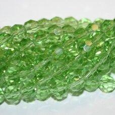 jssw0023gel-apv-08 apie 8 mm, apvali forma, briaunuotas, skaidrus, šviesi, žalia spalva, apie 72 vnt.